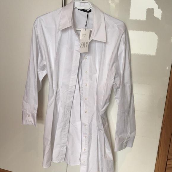 Zara white blouse hinged at the waist shirt